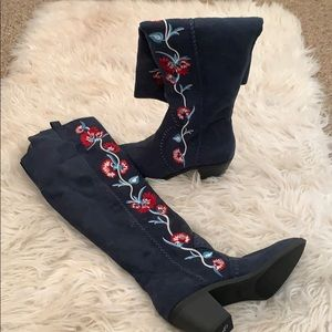 Knee high embroidered boots